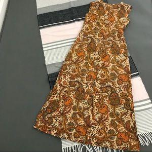 vtg vintage 60s 70s long brown paisley   dress